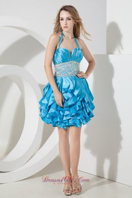2013 Baby Blue Column Halter Lace Short Prom Dress Mini-lengrh Taffeta