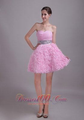 2013 Baby Pink A-Line / Princess Sweetheart Mini-length Chiffon and Lace Rhinestone Prom / Homecoming Dress