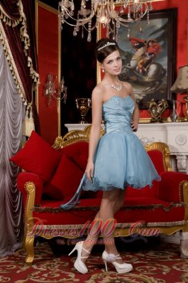2013 Light Blue A-line / Princess Sweetheart Mini-length Organza Beading Prom / Homecoming Dress