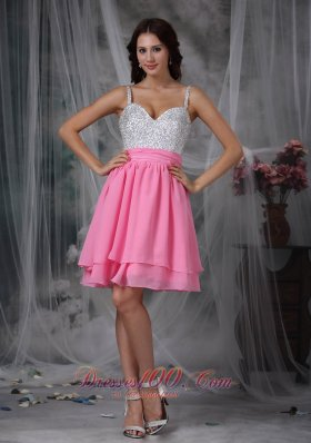 2013 Pink and White Column Straps Mini-length Chiffon Beading Prom Dress