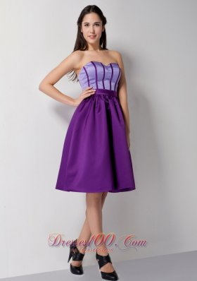 Cheap Customize Eggplant Purple A-line Sweetheart Bridesmaid Dress Knee-length Satin