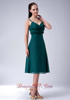 Cheap The Most Popular Dark Green Empire Straps Bridesmaid Dress Chiffon Tea-length Appliques