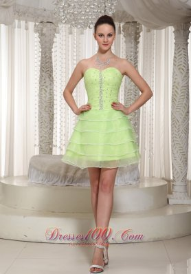 Cheap Lace-up Yellow Green Beaded Decorate Homecoming Dress With Sweetheart