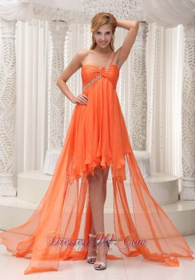 Cheap Beaded Decorate One Shoulder Ruched Bodice Orange Chiffon High-low A-line Prom / Homecoming Dress For 2013