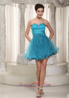 Cheap Teal A-line Sweetheart Mini-length Tulle Beading Prom / Cocktail Dress