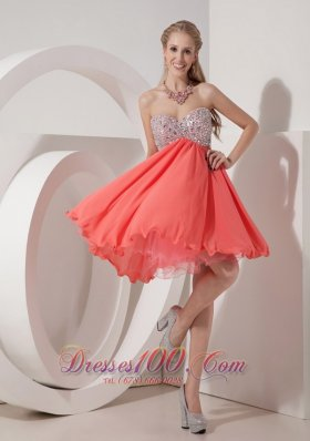 Cheap Lovely Watermelon Empire Sweetheart Homecoming Dress Organza and Chiffon Beading Mini-length