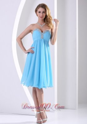 Cheap Aqua Blue Chiffon Sweetheart Beaded 2013 Modest Dress A-line Knee-length