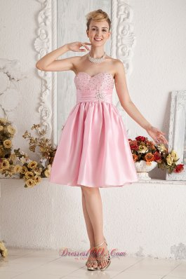 Cheap Baby Pink A-line Sweetheart Short Prom Dress Taffeta Beading Knee-length