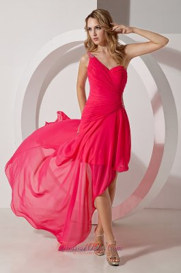 Cheap Hot Pink One Shoulder High-low Prom Dress Chiffon Beading