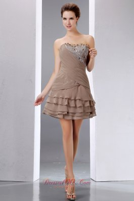 Cheap Elegant Brown A-line Short Prom Dress Strapless Mini-length Beading and Sequins Chiffon