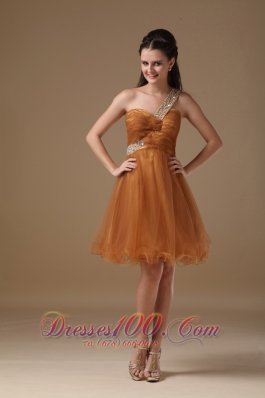 Cheap Rust Red A-line One Shoulder Knee-length Tulle Beading Prom Dress