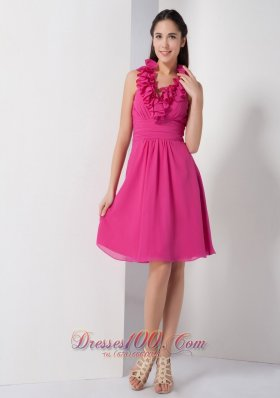 Hot Pink A-line Halter Bridesmaid Dress Chiffon Ruch Knee-length  Under 100