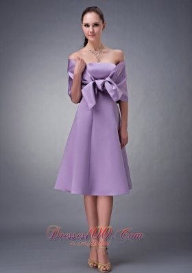 Chic Lilac A-line Strapless Bridesmaid Dress Tea-length Satin  Under 100