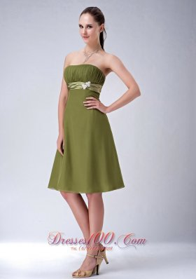Olive Green Empire Strapless Bridesmaid Dress Chiffon Knee-length  Under 100