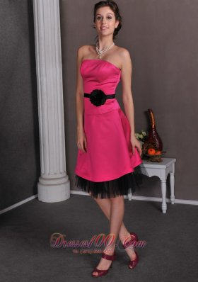 Beautiful Hot Pink Empire Strapless Hand Made Flowers Mother Of The Bride Dress Knee-length Satin and Tulle  Under 100