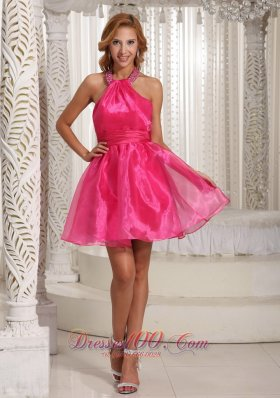 Custom Made Halter Hot Pink Mini-length Prom / Cocktail Dress With Beading Decorate  Under 100