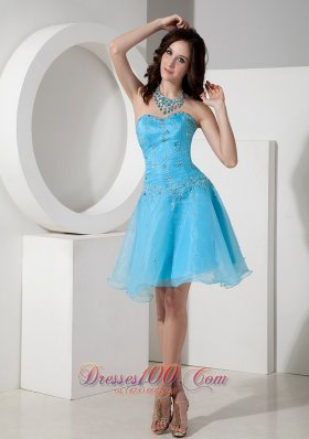 Custom Made Baby Blue Cocktail Dress A-line Sweetheart Organza Beading Mini-length  Under 100