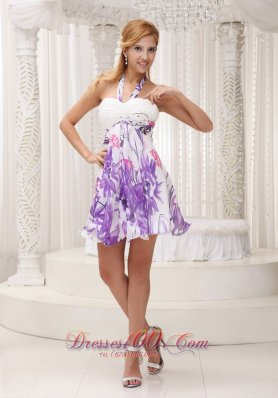 Halter Printing 2013 Prom / Homecoming Dress For Party Ruched Decorate Bust Mini-length Colorful  Under 100