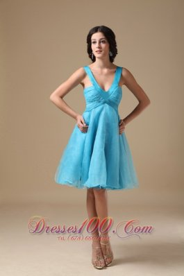 Aqua A-line V-neck Knee-length Organza Prom Dress  Under 100