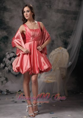 Watermelon A-line Straps Mini-length Taffeta Prom / Homecoming Dress  Under 100
