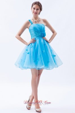 Baby Blue A-line / Princess Prom / Homecoming / Cocktail Dress One Shoulder Appliques Mini-length Organza  Under 100