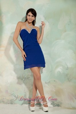 Simple Blue Column Asymmetrical Cocktail Dress Mini-length Chiffon  Under 100