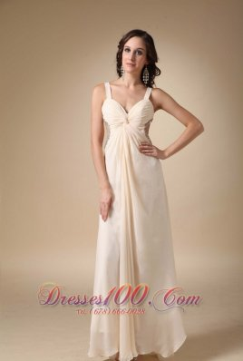 2013 Champagne Empire Straps Floor-length Chiffon Beading and Ruch Prom / Evening Dress