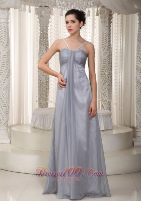 2013 Gray Empire Straps Floor-length Chiffon Beading Prom / Pageant Dress