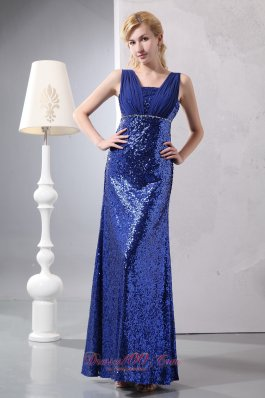 2013 Beautiful Blue Prom Dress Column Straps Ankle-length Sequin Sequins