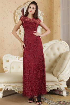 2013 Burgundy Column Bateau Ankle-length Beading Mother Of The Bride Dress