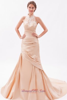 2013 Champagne Mermaid High-neck Court Train Taffeta Embroidery with Beading Prom Dress
