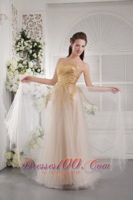2013 Champagne Empire Sweetheart Floor-length Tulle Fabric Sequins Prom / Graduation Dress