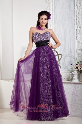 2013 Affordable Purple Empire Prom Dress Sweetheart Tulle and Leopard Beading and Bow Floor-length