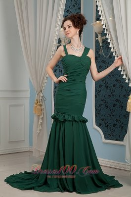 2013 Dark Green Mother Of Bride Dress For 2013 Mermaid Straps Brush Train Chiffon Ruch