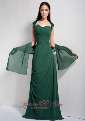 Discount Customize Dark Green Column Mother Of The Brides Dress Sweetheart Ruch Brush Train Chiffon