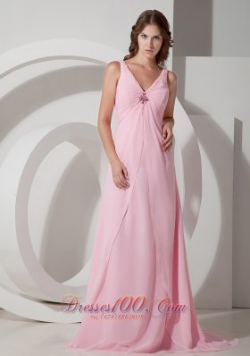Discount Exquisite Baby Pink Empire V-neck Beading Prom Dress Brush Train Chiffon