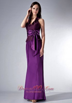 Discount Custom Made Eggplant Purple Cloumn Halter Bridesmaid Dress Bow Brush Train Elastic Woven Satin and Chiffon
