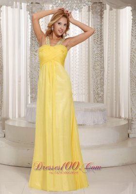 Discount Light Yellow Empire Beaded Decorate Straps Ruched Bodice Prom Dress Party Style