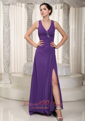 Discount Purple Empire V-neck Floor-length Chiffon Beading Prom / Pageant Dress
