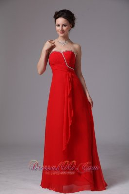 Discount Red Sweetheart Beaded Ruch Chiffon Prom Dress For Prom Party In Lawrenceville Georgia