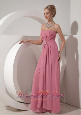 Discount Pretty Dusty Rose Mother of the Bride Dress Column Strapless Floor-length Chiffon Beading