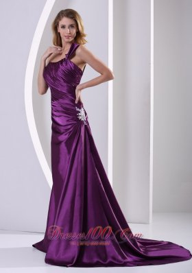 Discount Eggplant Purple One Shoulder Mother Of The Bride Dress With Ruch and Appliques Court Train Elastic Woven Satin