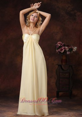 Discount 2013 Light Yellow Straps Ruched Bodice Discount Prom Dress Floor-length
