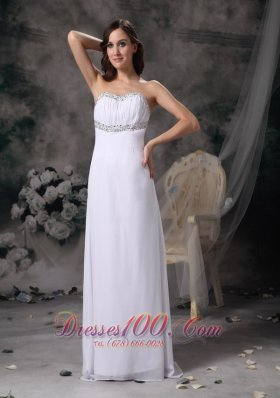 Discount White Empire Sweetheart Beach Wedding Dress Chiffon Beading Brush Train