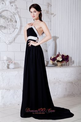 Discount Sexy Black and White Strapless Prom / Evening Dress Brush Train Chiffon Beading