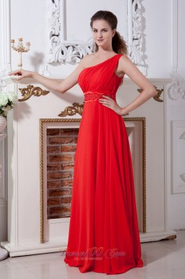 Discount Red One Shoulder Prom Dress Empire Floor-length Chiffon