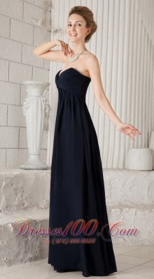 Discount Navy Blue Empire Sweetheart Floor-length Chiffon Ruch Bridesmaid Dress