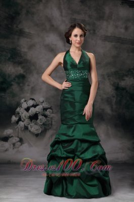 Fashion Exquisite Dark Green Mermaid Halter Evening Dress Taffeta Beading Floor-length