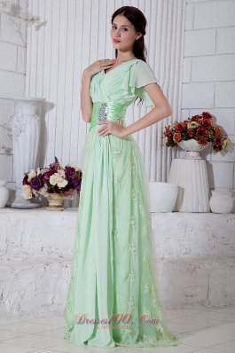 Fashion Apple Green Empire V-neck Beading Prom / Evening Dress Brush Train Chiffon