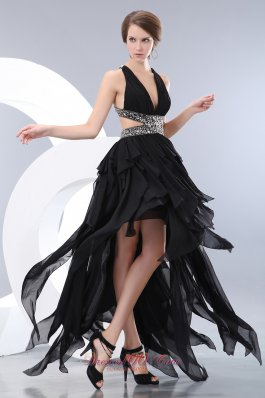 Fashion Special Black Empire V-neck High-low Evening Dress Chiffon Beading